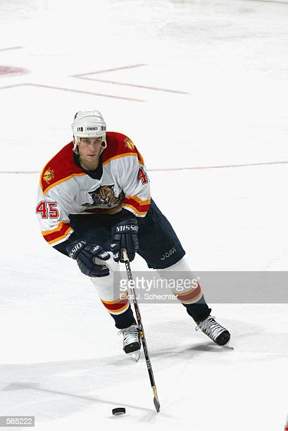 Defenseman Brad Ference of the Florida Panthers skates with the puck during the NHL game against the Ottawa Senators at National Car Rental Center in...