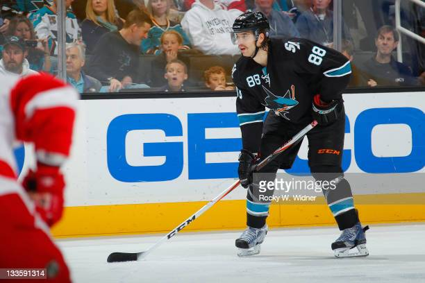 Defenseman Brent Burns of the San Jose Sharks readies for the faceoff against the Detroit Red Wings at the HP Pavilion on November 17 2011 in San...