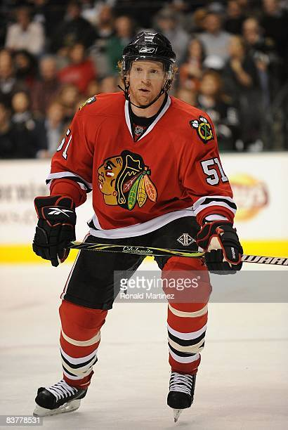 Defenseman Brian Campbell of the Chicago Blackhawks during play against the Dallas Stars at the American Airlines Center on November 20 2008 in...