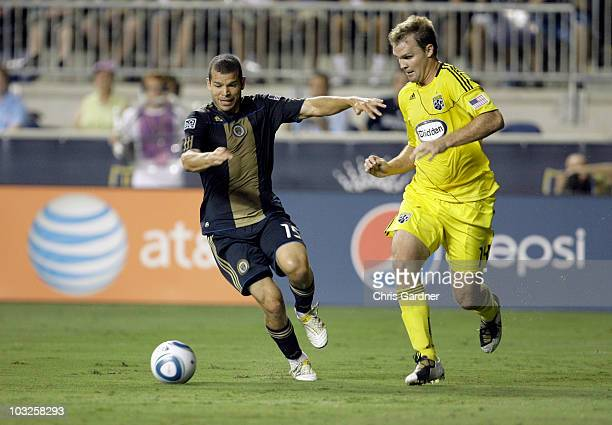 Defenseman Chad Marshall of the Columbus Crew guards forward Alejandro Moreno of the Philadelphia Union during their game at PPL Park on August 5...