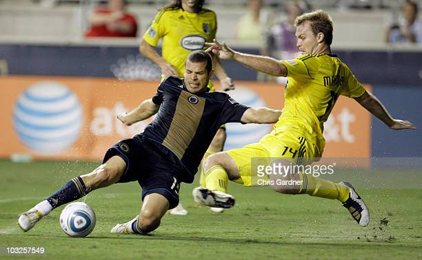 Defenseman Chad Marshall of the Columbus Crew moves in to block a shot by forward Alejandro Moeno of the Philadelphia Union during the first half at...