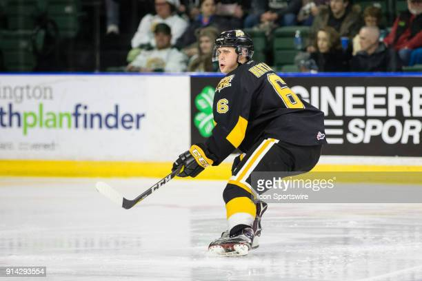 Defenseman Chase Hartje of the Brandon Wheat Kings cuts hard on offense during the third period in a game between the Everett Silvertips and the...