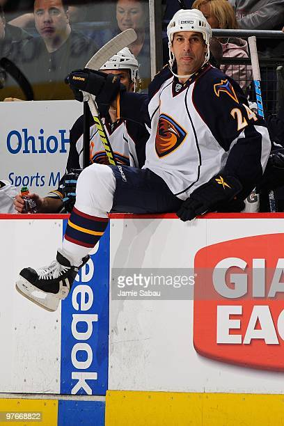 Defenseman Chris Chelios of the Atlanta Thrashers takes the ice for his first shift back in the NHL in a game against the Columbus Blue Jackets on...