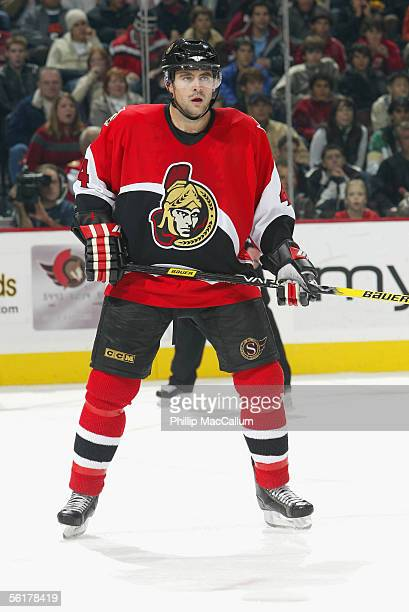 Defenseman Chris Phillips of the Ottawa Senators is on the ice during the game against the Buffalo Sabres at the Corel Centre in Ottawa Ontario on...