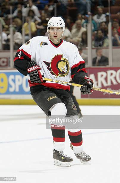 Defenseman Chris Phillips of the Ottawa Senators skates during the game against the Mighty Ducks of Anaheim on October 17 2003 at the Arrowhead Pond...