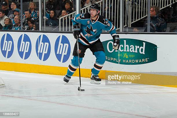 Defenseman Colin White of the San Jose Sharks controls the puck against the Florida Panthers at the HP Pavilion on December 3 2011 in San Jose...