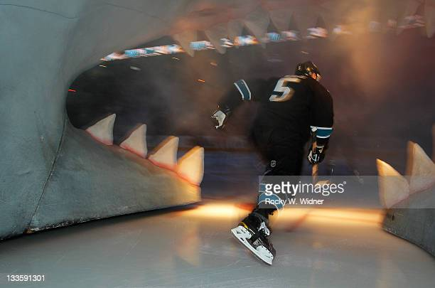 Defenseman Colin White of the San Jose Sharks enters the ice for the game against the Detroit Red Wings at the HP Pavilion on November 17 2011 in San...