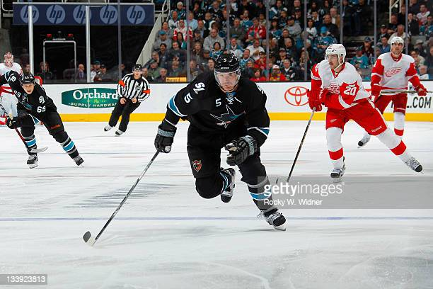 Defenseman Colin White of the San Jose Sharks skates on the ice against the Detroit Red Wings at the HP Pavilion on November 17 2011 in San Jose...