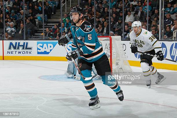 Defenseman Colin White of the San Jose Sharks skates on the ice against the Dallas Stars at the HP Pavilion on December 8 2011 in San Jose California...