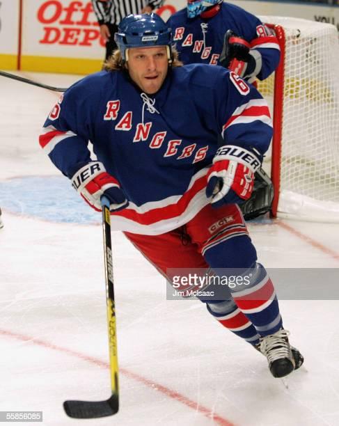 Defenseman Darius Kasparaitis of the New York Rangers skates against the New York Islanders during the preseason game on September 29, 2005 at...