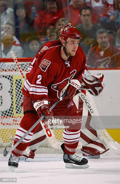 Defenseman Derek Morris of the Phoenix Coyotes skates on the ice during the game against the Detroit Red Wings at the Glendale Arena on March 18 2004...