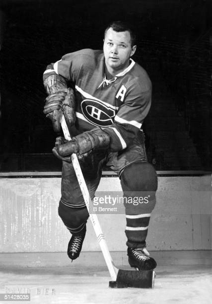 Defenseman Doug Harvey of the Montreal Canadiens poses for an action portrait Doug Harvey played for the Montreal Canadiens from 1947 1951