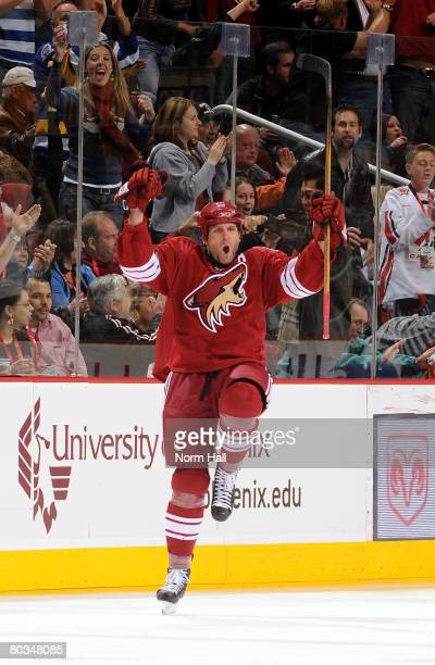 Defenseman Ed Jovanovski of the Phoenix Coyotes celebrates his game tying goal against the Anaheim Ducks on March 22, 2008 at Jobing.com Arena in...