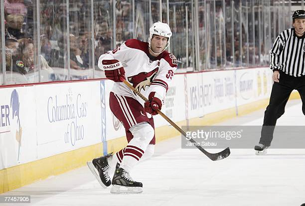 Defenseman Ed Jovanovski of the Phoenix Coyotes passes off the puck against the Columbus Blue Jackets on October 10, 2007 at Nationwide Arena in...