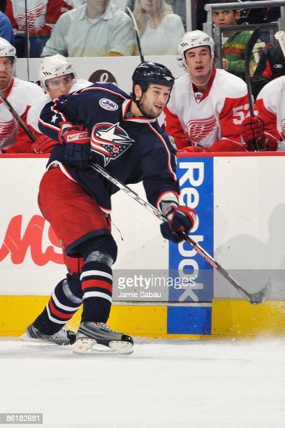 Defenseman Fedor Tyutin of the Columbus Blue Jackets shoots the puck against the Detroit Red Wings during Game Three of the Western Conference...