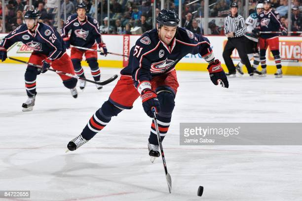 Defenseman Fedor Tyutin of the Columbus Blue Jackets skates with the puck against the San Jose Sharks on February 7 2009 at Nationwide Arena in...