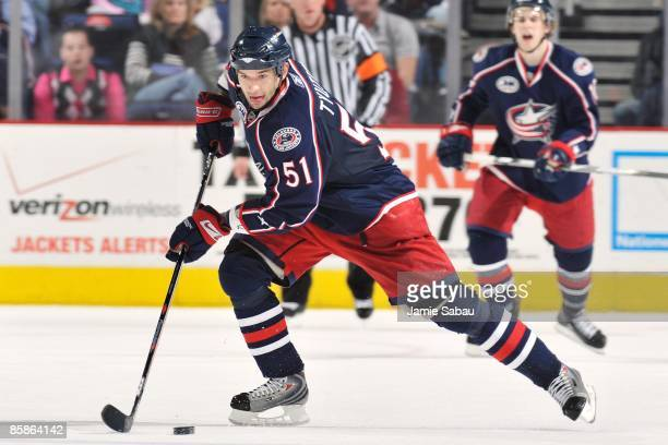 Defenseman Fedor Tyutin of the Columbus Blue Jackets skates with the puck against the Chicago Blackhawks on April 5 2009 at Nationwide Arena in...