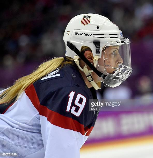 USA defenseman Gigi Marvin during a timeout in their game against Canada during the third period of the women's Gold Medal hockey game at the Winter...