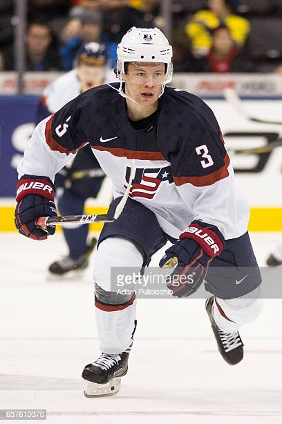 Defenseman Jack Ahcan of Team United States skates through the neutral zone against Team Slovakia in a preliminary round Group B game during the IIHF...