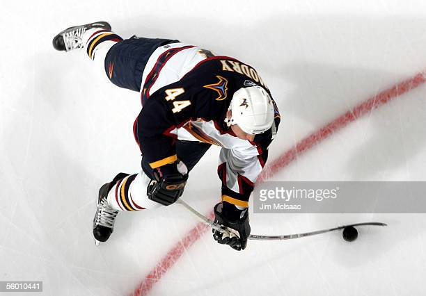 Defenseman Jaroslav Modry of the Atlanta Thrashers shoots the puck during warmups before playing the New York Islanders on October 25, 2005 at Nassau...