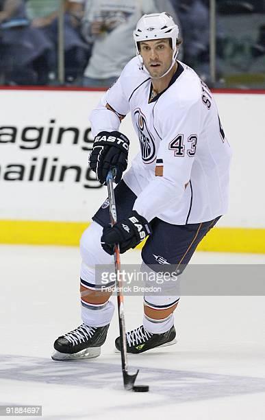 Defenseman Jason Strudwick of the Edmonton Oilers skates against the Nashville Predators on October 12, 2009 at the Sommet Center in Nashville,...