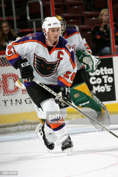 Defenseman John Slaney of the Philadelphia Phantoms skates on the ice during the game against the Albany River Rats on October 9, 2005 at the...