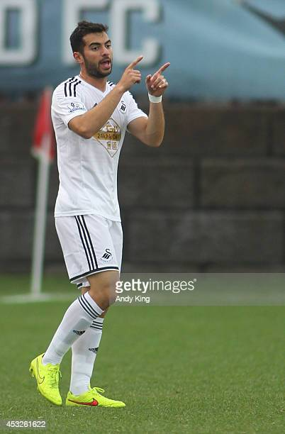 Defenseman Jordi Amat of Swansea City controls the ball against Minnesota United FC on July 19 2014 at the National Sports Center in Blaine Minnesota...