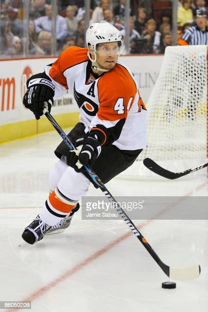 Defenseman Kimmo Timonen of the Philadelphia Flyers skates with the puck against the PIttsburgh Penguins during Game Two of the Eastern Conference...