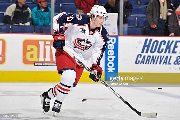 Defenseman Kris Russell of the Columbus Blue Jackets skates during warm ups before a game against the St. Louis Blues on February 3, 2009 at...