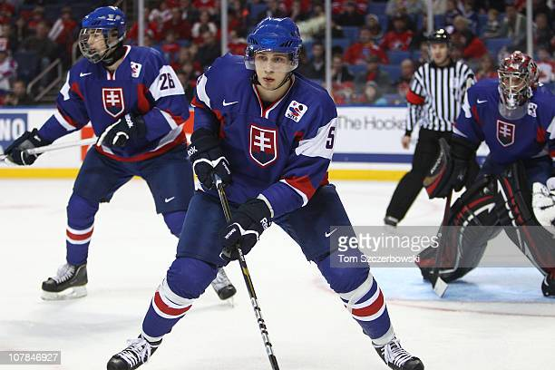 Defenseman Lukas Kozak of Slovakia during the 2011 IIHF World U20 Championship game between Slovakia and Finland on December 31 2010 at HSBC Arena in...