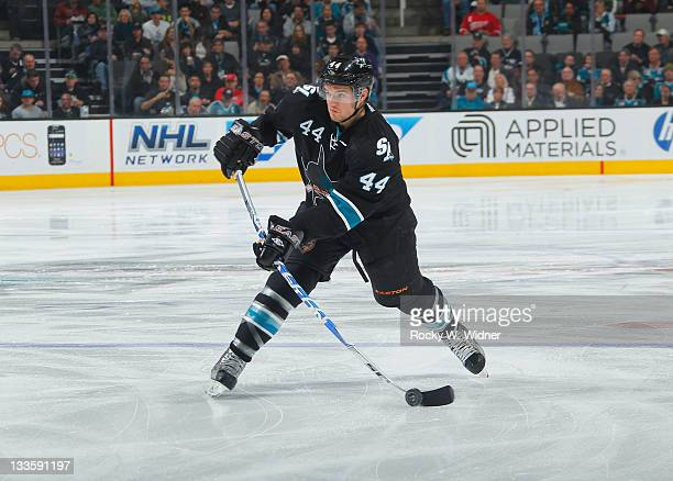Defenseman MarcEdouard Vlasic of the San Jose Sharks shoots the puck against the Detroit Red Wings at the HP Pavilion on November 17 2011 in San Jose...