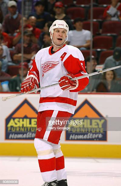 Defenseman Nicklas Lidstrom of the Detroit Red Wings reacts to the game against the Phoenix Coyotes at Glendale Arena on March 18 2004 in Glendale...