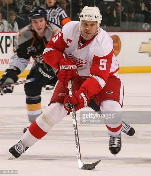 Defenseman Nicklas Lidstrom of the Detroit Red Wings skates against the Nashville Predators on February 12 2008 at the Sommet Center in Nashville...