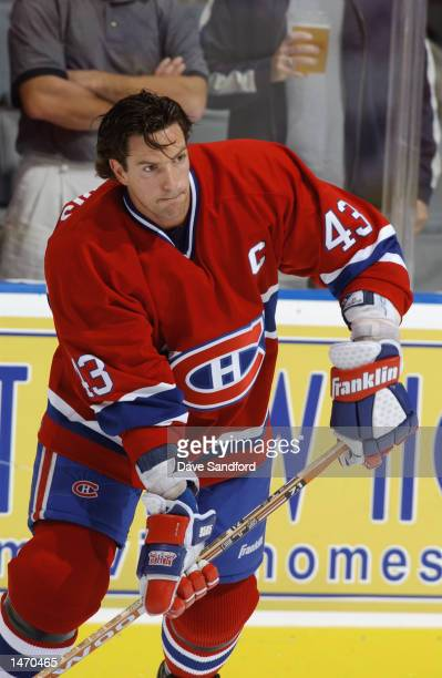 Defenseman Patrice Brisebois of the Montreal Canadiens skates during warmups prior to the start of the NHL game against the Toronto Maple Leafs on...