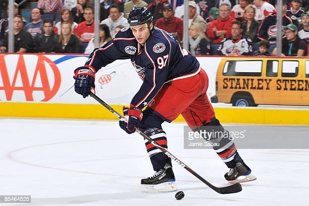 Defenseman Rostislav Klesla of the Columbus Blue Jackets skates with the puck against the Detroit Red Wings on March 15, 2009 at Nationwide Arena in...