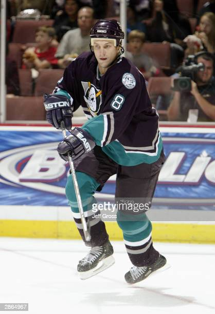 Defenseman Sandis Ozolinsh of the Mighty Ducks of Anaheim on the ice during the game against the Ottawa Senators on October 17 2003 at the Arrowhead...