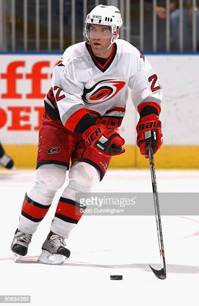 Defenseman Sean Hill of the Carolina Hurricanes advances the puck against the Atlanta Thrashers during the game at the Philips Arena on March 15 2004...