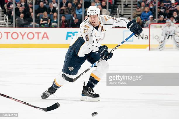 Defenseman Shea Weber of the Nashville Predators passes the puck against the Columbus Blue Jackets on December 11 2008 at Nationwide Arena in...