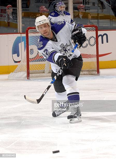 Defenseman Tom Preissing of the Los Angeles Kings passes the puck against the Phoenix Coyotes on March 20 2008 at Jobingcom Arena in Glendale Arizona