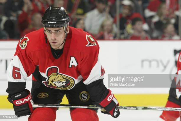 Defenseman Wade Redden of the Ottawa Senators gets set for a face off against the Buffalo Sabres in Game 2 of the Eastern Conference Semi-finals...