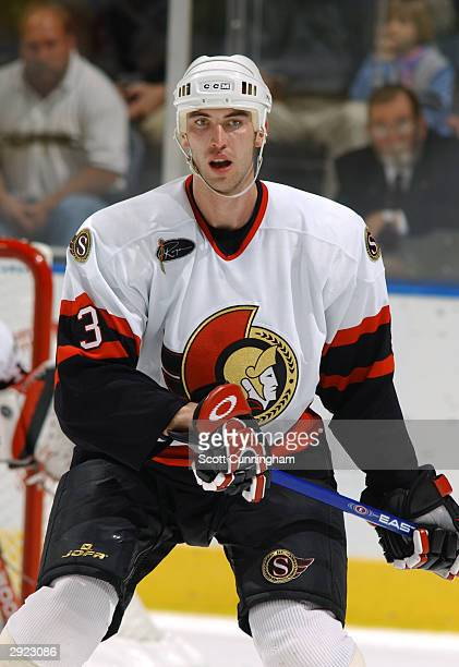 Defenseman Zdeno Chara of the Ottawa Senators stands on the ice during the game against the Atlanta Thrashers at Philips Arena on November 11, 2003...