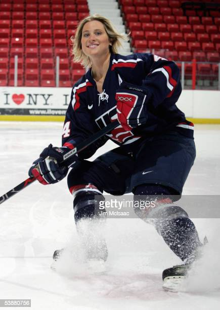 Defensemen Angela Ruggiero skates during a photo session at the USA Hockey National Women's Festival on August 26 2005 at the Olympic Center in Lake...