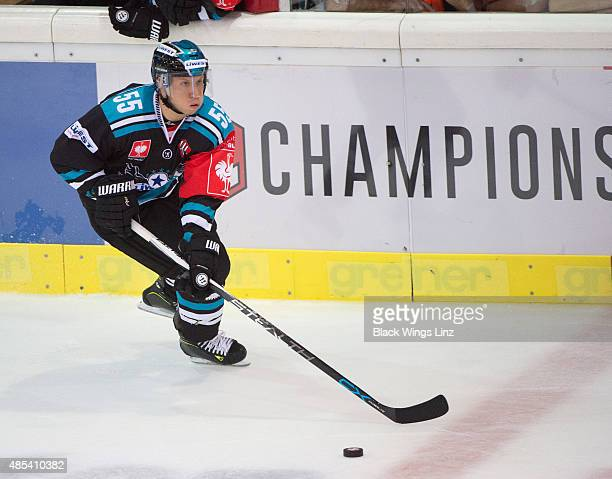 defensemen Robert Lukas of Black Wings skating on the ice during the Champions Hockey League group stage game between Black Wings Linz and TPS Turku...
