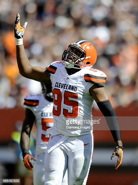 Defensiev end Armonty Bryant of the Cleveland Browns celebrates a sack during a game against the Cleveland Browns on September 20 2015 at FirstEnergy...