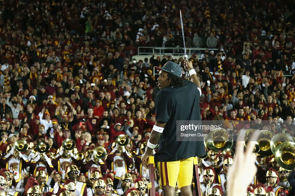 Defensive back Adoree' Jackson #2 of the USC Trojans celebrates after defeating the Penn State Nittany Lions 52-49 to win the 2017 Rose Bowl Game presented by Northwestern Mutual at the Rose Bowl on January 2, 2017 in Pasadena, California.