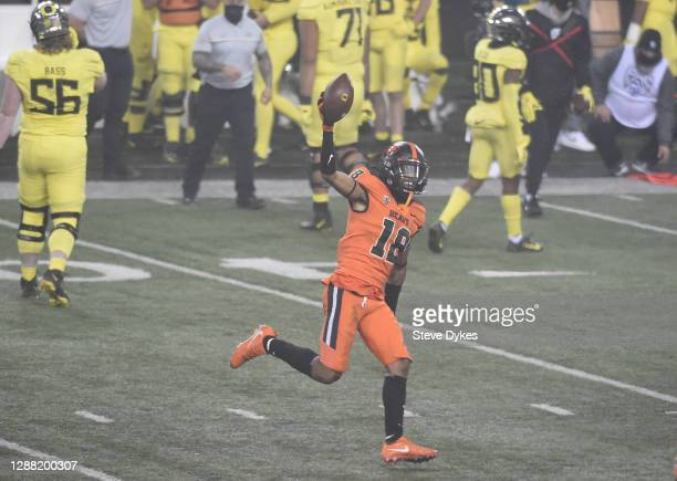 Defensive back Alex Austin of the Oregon State Beaver celebrates as the clock expires in the game against the Oregon Ducks at Reser Stadium on...