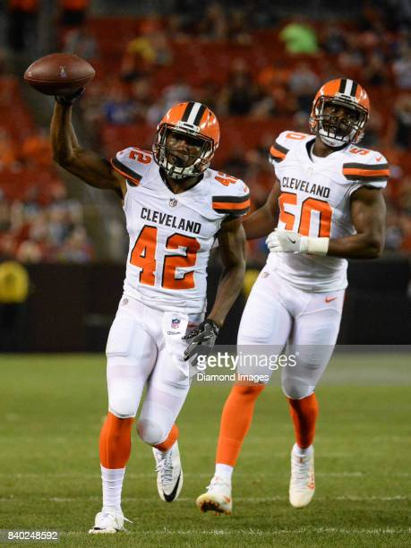 Defensive back Alvin Hill of the Cleveland Browns celebrates an incompletion on third down in the fourth quarter of a preseason game on April 27,...