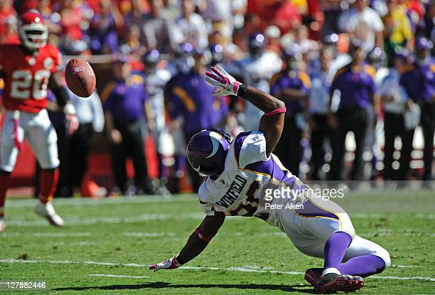 Defensive back Antoine Winfield of the Minnesota Vikings tips a pass during the second quarter against the Kansas City Chiefs on October 2 2011 at...