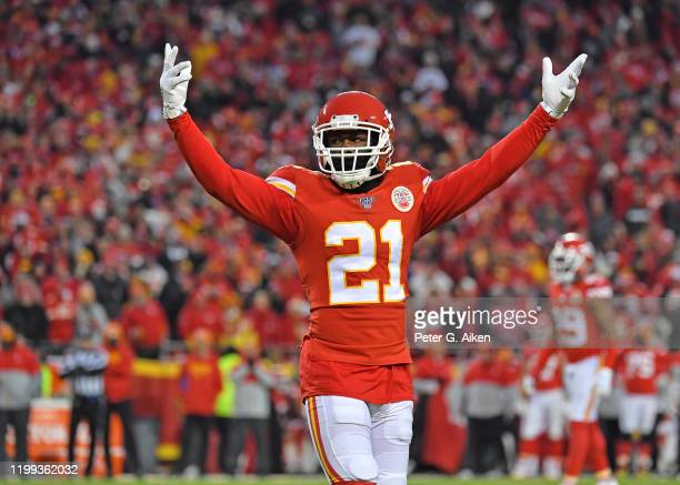 Defensive back Bashaud Breeland of the Kansas City Chiefs celebrates in the second half during the AFC Divisional playoff game against the Houston...