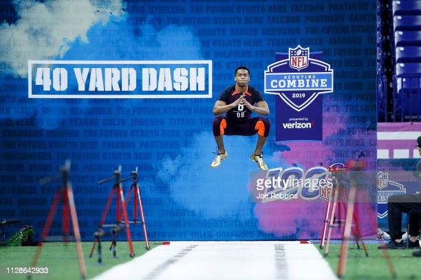 Defensive back Blace Brown of Troy gets ready to run the 40yard dash during day five of the NFL Combine at Lucas Oil Stadium on March 4 2019 in...